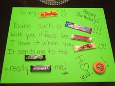 Candy bar poster for my hubby's bday ( a friend of mine made this!!)