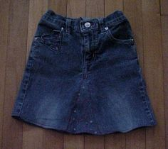 Step-by-step instructions on turning holey jeans into skirts.