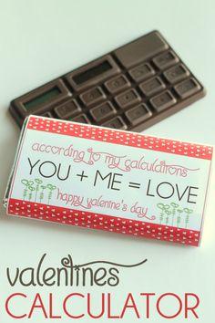 Calculator Valentine. SO cute! Free printable on { lilluna.cpm } #valentines