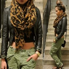 leopard. army green. dark burgundy lipstick. high bun. leather jacket