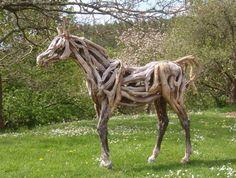 heather jansch, driftwood hors, horses, sand sculptures, garden art, driftwood art, animal sculptures, artist, land art