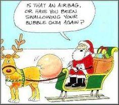 Funny Santa Airbag Christmas Cartoon