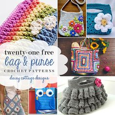Whether you're crocheting for yourself or a friend, there's something for everyone in this collection of 21 Free Crochet Patterns. #crochetideas #crochetpatterns #freecrochetpatterns kitti bag, bag crochet, free bag, free purs, daisi cottag, crochet patterns, purs crochet