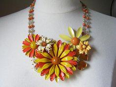 Statement Necklace, Vintage Enamel Flower,  Upcycled, Yellow, Orange, Marigold, Naples, Bib, Multi Strand, Repurposed, OOAK - Carnival by JenniferJonesJewelry, $155.00 USD
