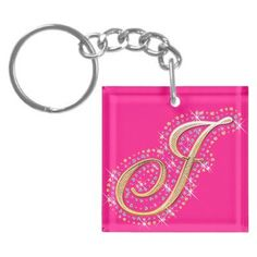 Pink Keychain with Initial J