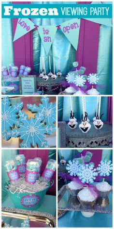 Frozen birthday party, see more party ideas at CatchMyParty.com. #disney #frozen #kidsparty. I love the snowflake cookie cupcake toppers.