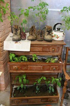 Use old dresser or desk for planter boxes