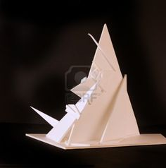 abstract modern sculpture based on a cubist face made from foam board Stock Photo