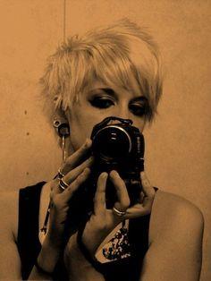 short hair. blonde.