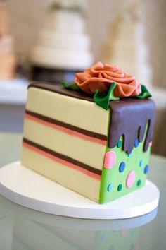 cute, fondant cake wedge!