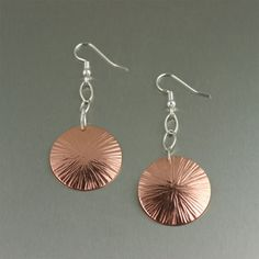 Chased Copper Disc Earrings by johnsbrana on Etsy, $35.00