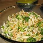 Mad Hatter Cole Slaw with broccoli, ramen noodles, sunflower seeds, etc.  It has received great reviews and we are having it for dinner tonight.  We'll see if my family likes it as much as the other 115 reviewers.  My girls and hubby are a little on the picky side.  I guess I am too!  :)