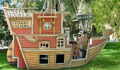 Pirate Ship playhouse - wish I had the skills to make one!