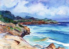 South Shore Hike Original Watercolor Beach Painting from Kauai Hawaii by Marionette Poipu turquoise aqua