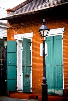 Painted Shutters on a Creole Cottage in the French Quarter, New Orleans, LA