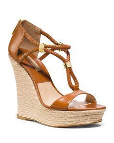 Michael Kors Sherie T-Strap Wedge Sandal. Perfect summer wedge! Love! fashion, wedg sandal, style, michael kors, wedge sandals, tstrap wedg, sheri tstrap, kor sheri, shoe