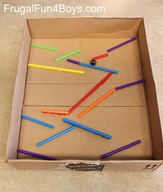 Make a marble run with straws