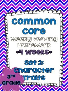 3rd Grade Common Core Reading Homework