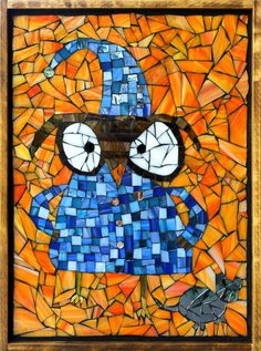 """www.kasiamosaics.com  This stained glass mosaic owl 18""""x13"""" was created by Adriana, my 9 year old niece, while she visited me here in Colorado for a week over the summer =)"""