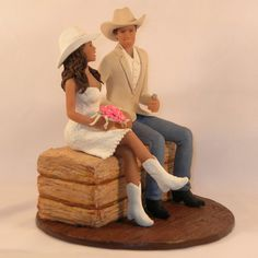 Custom cowboy and cowgirl cake topper