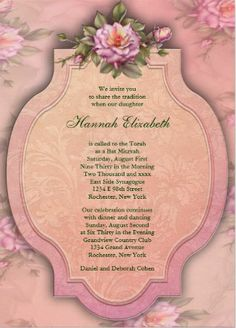 Pink flower Bat Mitzvah Invitation. #bat_mitzvah_invitations