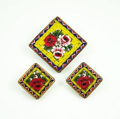 Vintage Brooch Earrings Yellow Micro Mosaic Italy by zephyrvintage