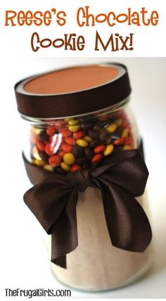 Reeses Pieces Chocolate Cookie Mix in a Jar! ~ from TheFrugalGirls.com {this makes such a fun mason jar gift!} #masonjars #giftsinajar #thefrugalgirls