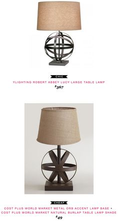 YLighting Robert Abbey Lucy Large Table Lamp $367 vs Cost Plus World Market Metal Orb Accent Lamp Base + Cost Plus World Market Natural Burlap Table Lamp Shade $49