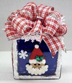 Santa Block designed by Karen S., A.C. Moore Erie, PA #glassblock #christmas