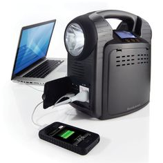 Portable Power Supply ---- backup power source for up to 7 hours in any emergency situation. Features plugs and USB ports to power TVs, computers, radios, cell phones, MP3 players and more. Built-in super LED flashlight provides bright illumination and security in dark areas. Also includes cables for jump-starting a car or boat. If the charge runs out it has a hand crank too