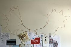 Moose antlers made of copper wire!