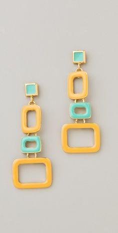 Teal and orange geometric earrings