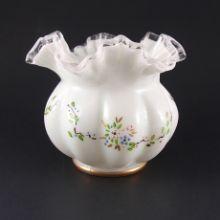 Fenton Glass Exquisite Silver Crest Vase w/Enamel Design #192