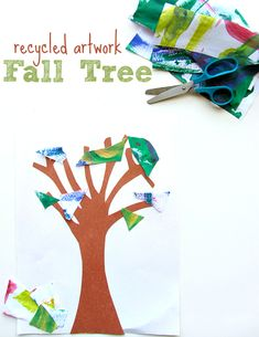 Cute idea for recycling your child's art work! Fun fall craft idea for kids.