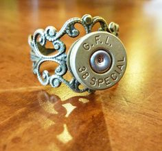 Bullet Ring for that 38 Special Someone. $14.50, via Etsy.