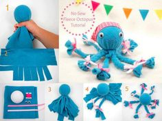No-Sew Fleece Octopus Craft: This would make a great baby rattle if you fill the head with poly-fill and add a rattler. Must get rid of wiggly eyes and bows, as they are a choking hazard.