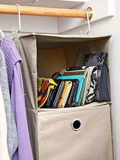 Go with Add-Ons  You don't necessarily need to splurge for fancy built-ins to maximize storage in a master bedroom closet. A simple, low-cost fabric drawer unit offers an open spot to organize clutches or other small handbags -- plus the unit is moveable should needs change.