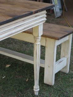 Farm Table and 2 Benches by cottageandcabin on Etsy