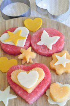 Kids snack time fun! Using cookie cutters, can do holiday themes and use other fruits and cheeses!