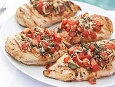 Grilled Chicken Bruschetta-This is a healthy and delicious, low calorie, low carbohydrate, low sodium Diabetic and Weight Watchers 5 PointsPlus+ recipe.