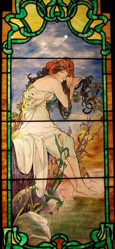 "Mucha ""Summer"" stained glass window"