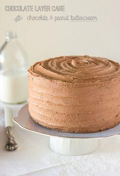 Chocolate Layer Cake with Chocolate & Peanut Buttercream