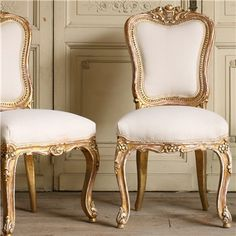 One of a Kind Vintage Side Chair Distressed Gold Set of 2