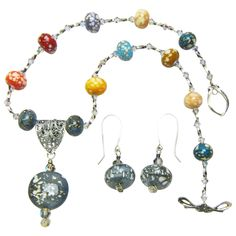 Bird's Egg Lampwork Beaded Necklace & Earring Set from Sweetpea Cottage on Ruby Lane