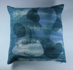 Blue Dip Dye Linen Cushion Hand Screen printed. Pebbles in a Rock Pool