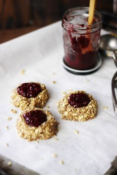 Cashew Thumbprint Cookies with Berry Chia Jam.