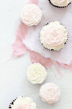Romantically ethereal, splendidly pretty Pale Pink Rose Cupcakes. #food #cupcakes #pink #white #rose #wedding #cake #Valentines #flowers