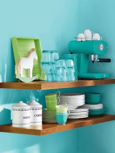 turquoise blue, small kitchen designs, color, small kitchens, kitchen interior, blue kitchens, lime, shelv, modern kitchens