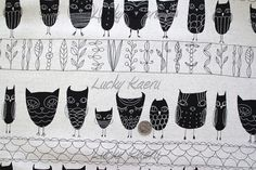Japanese Owl Rows Black on Natural Japanese by luckykaerufabric, $9.95