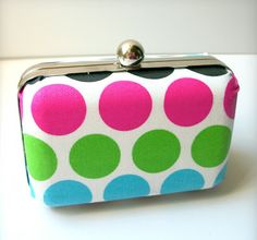 diy clutch bags, mod podg, polka dots, clutch purse, fabric cover